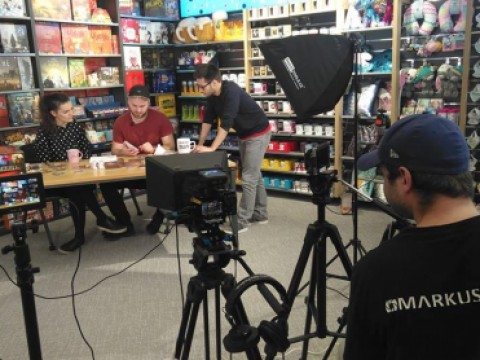 Shooting a video guide for a board game by the Albi company